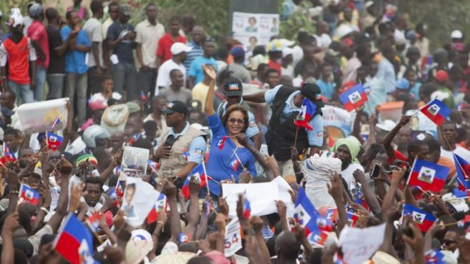 Maryse Narcisse Among Her Lavalas Supporters